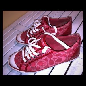 Coach red and white sneakers